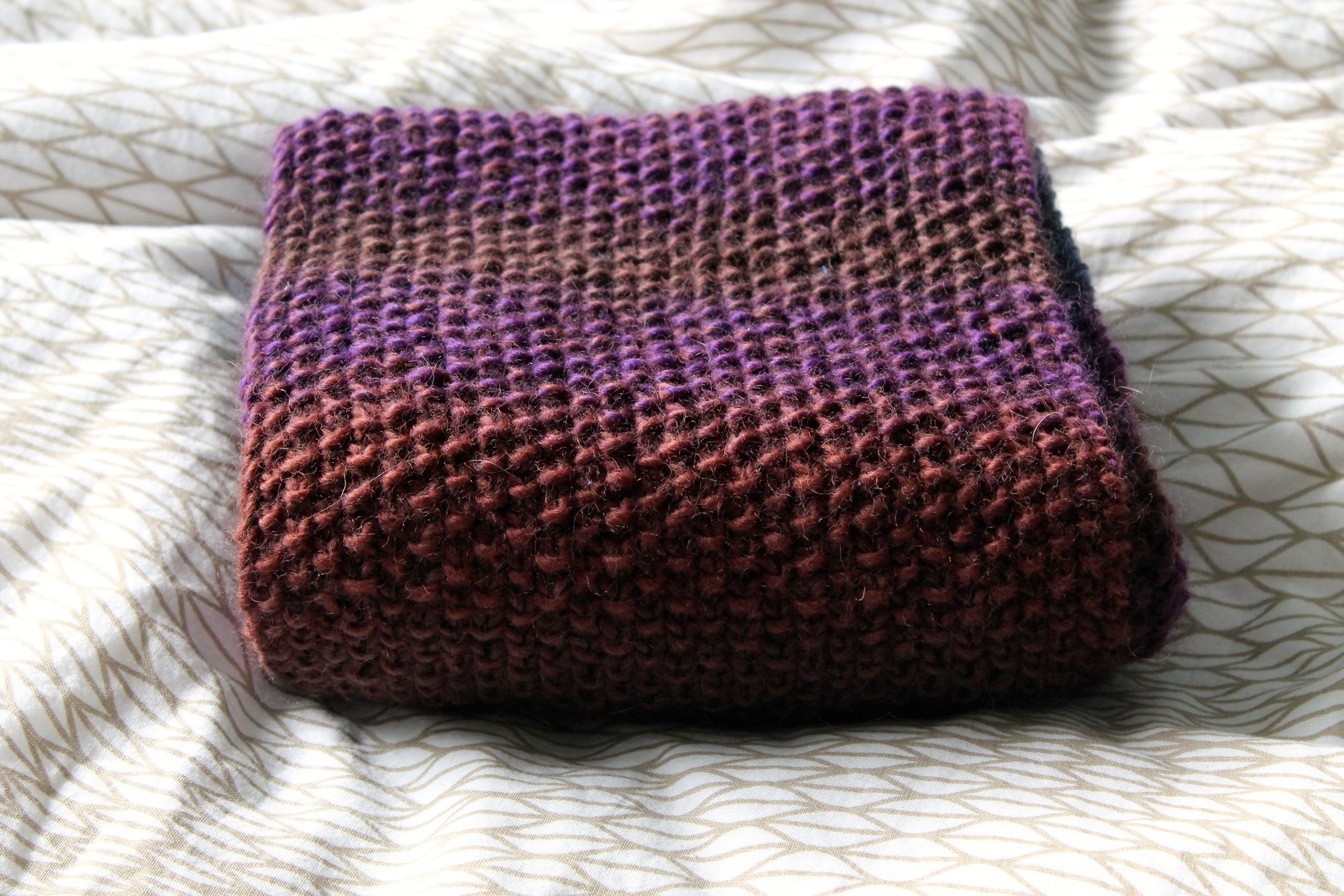 100% wool knit scarf in variegated Nashua Handknits yarn
