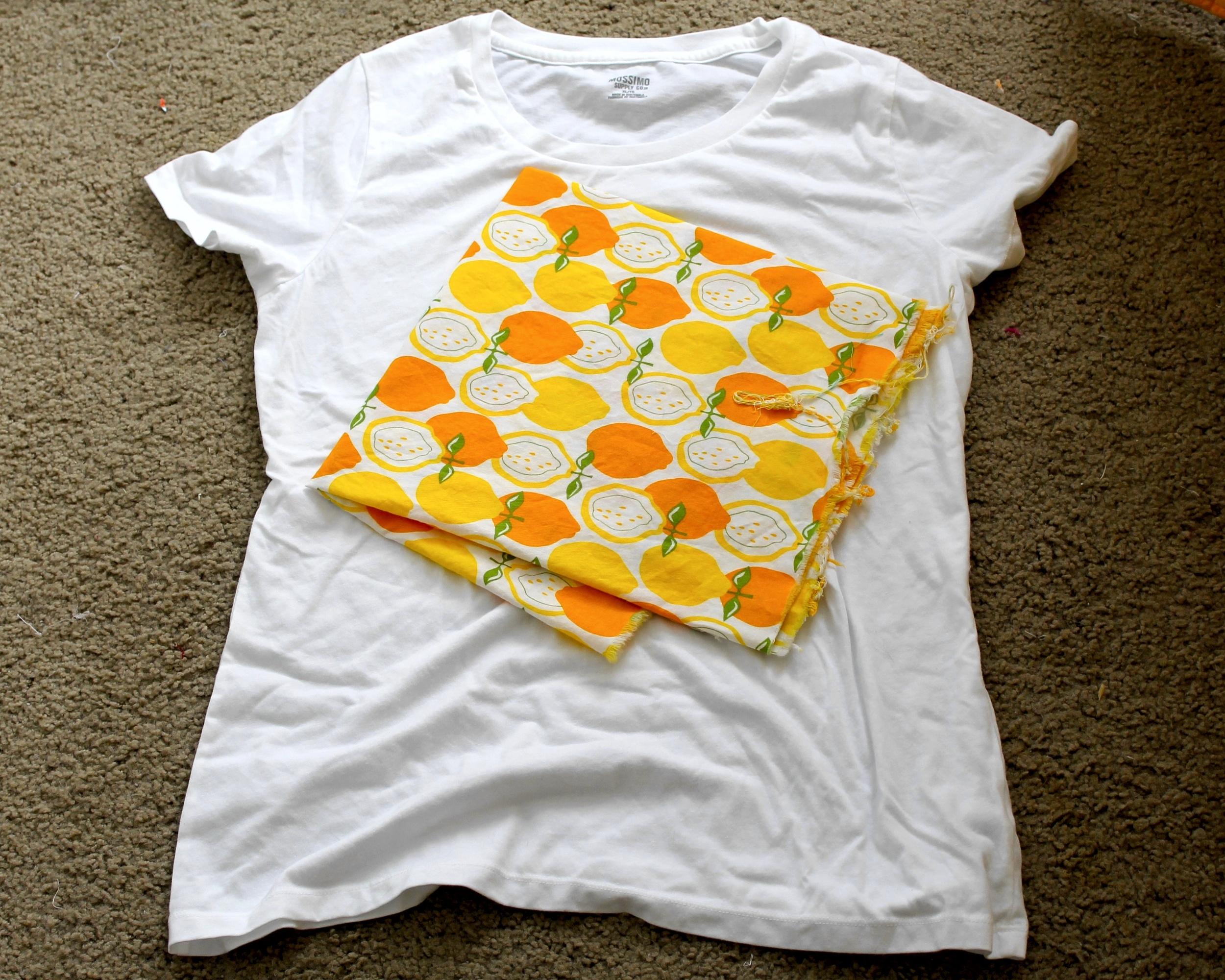 White t-shirt and lemon fabric