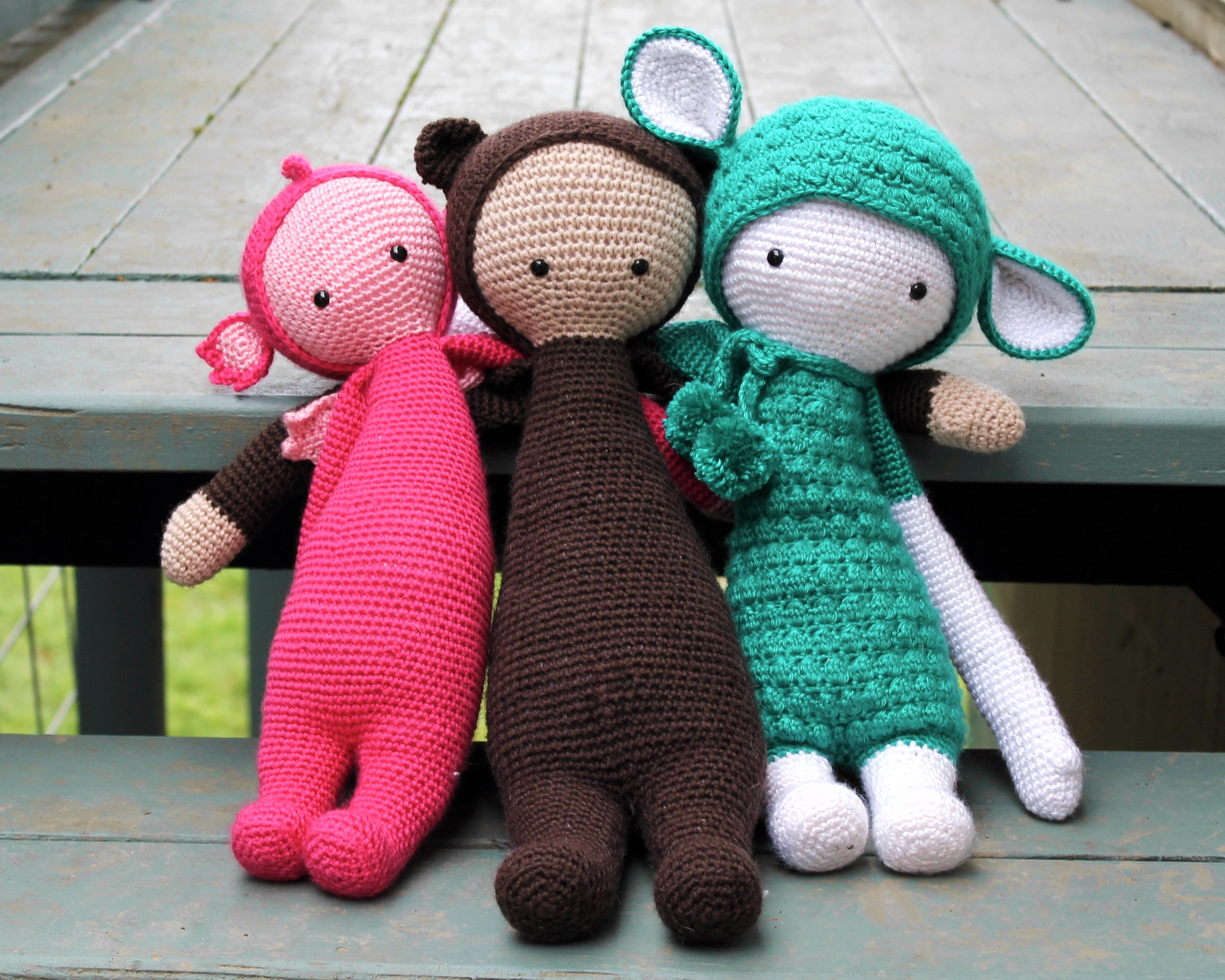 Lalylala amigurumi dolls - pink dragon, brown bear, teal sheep
