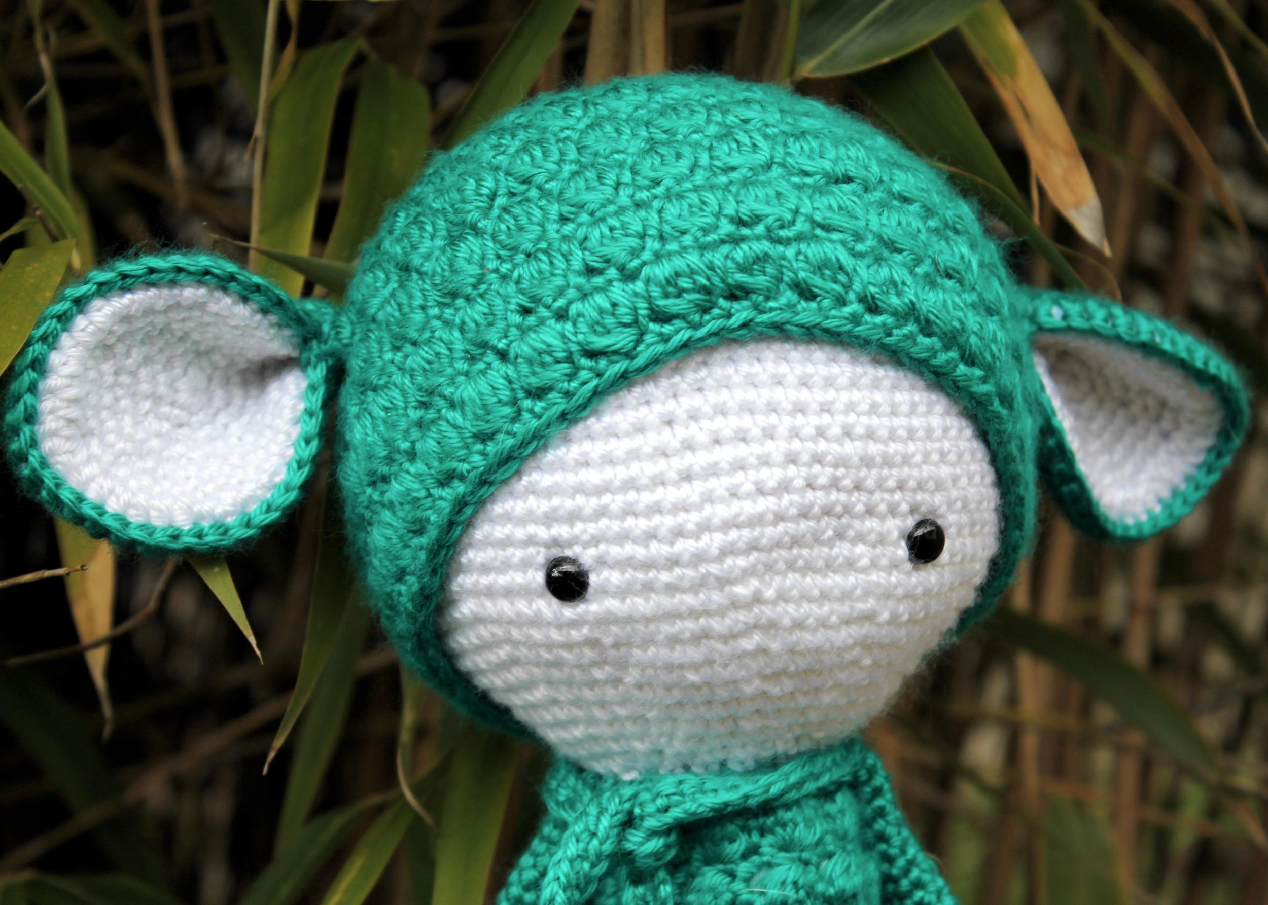Lalylala amigurumi doll, teal lamb
