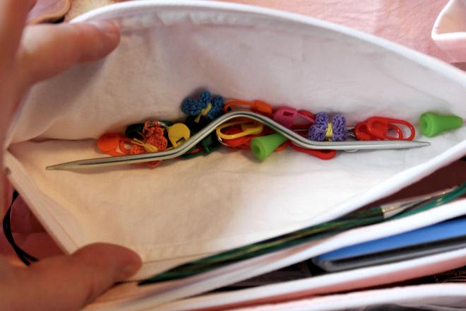 Pocket inside Sew Together Bag holding knitting notions