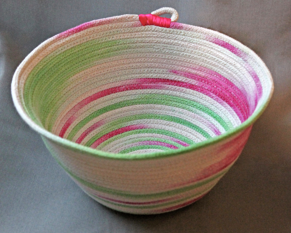 Hand dyed pink and green rope bowl
