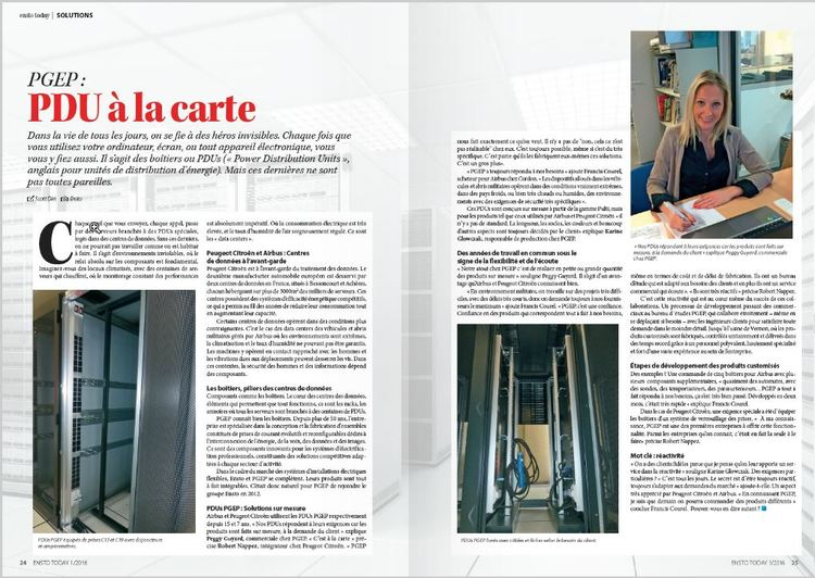 PGEP : PDU à la carte , Ensto Today France, May 2016