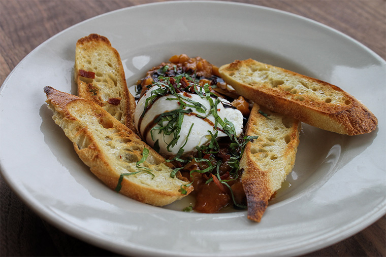 Grilled Peach and Prosciutto Burrata