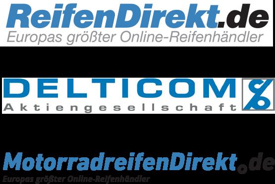 Logos von ReifenDirekt.de, Delticom, MotorradreifenDirekt.de