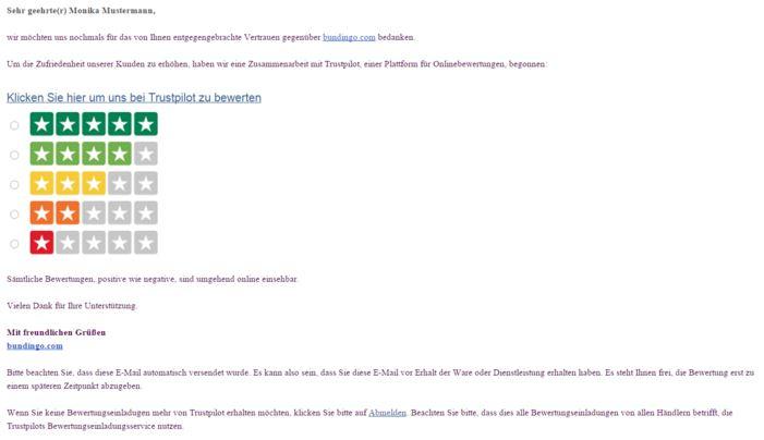Bild neue Standard-Bewertungseinladung Deutsch