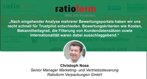 Kundenbewertungen zur Optimierung: So nutzt ratioform Trustpilot in verschiedenen Bereichen