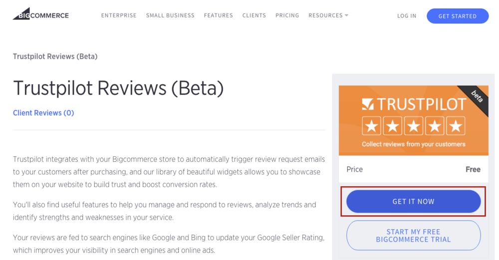 Trustpilot BigCommerce App Get It Now