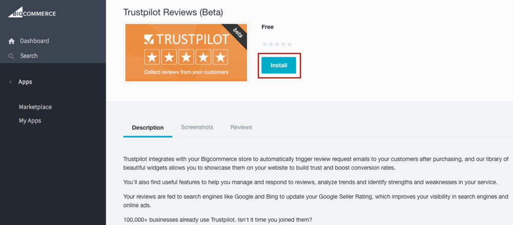 Trustpilot BigCommerce App Installation