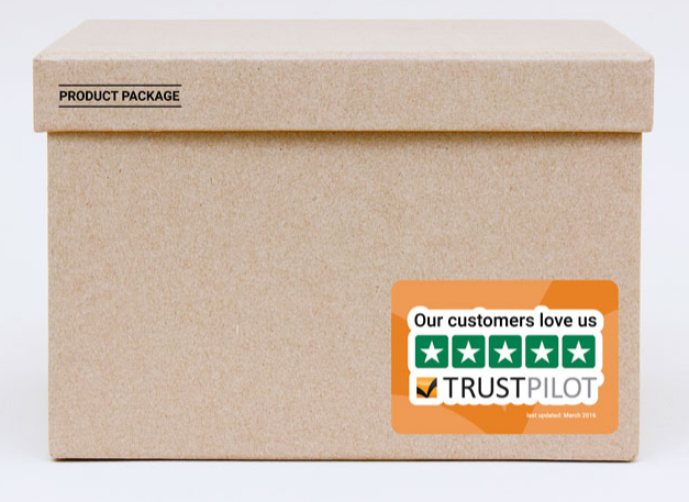 Trustpilot Sticker auf Versandbox