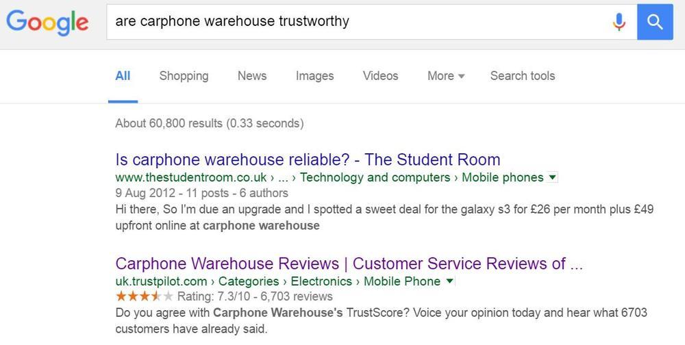 Bild Carphone Warehouse Suchergebnisse 'trustworthy'