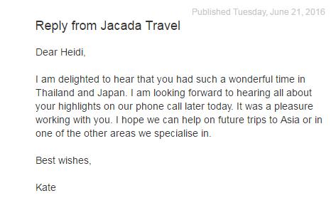 Oben  :   Jacada Travel, einer unserer Partner,  antwortet auf eine Bewertung