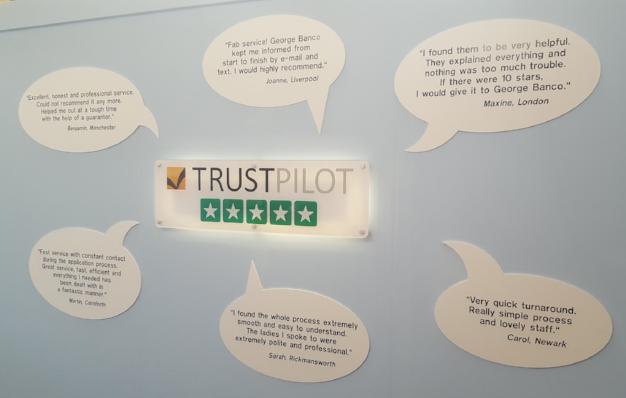 Trustpilot + George Banco - Meisterwerke an der Wand