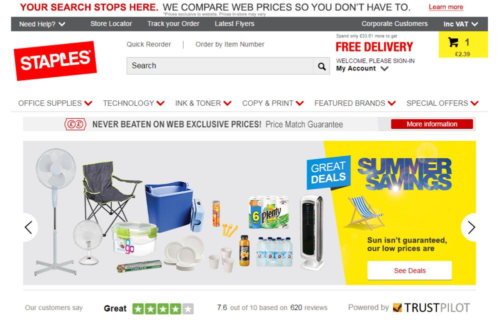 Staples-Bewertungen auf der Unternehmenswebsite