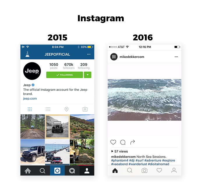 Instagram UI redesign 2015-2016