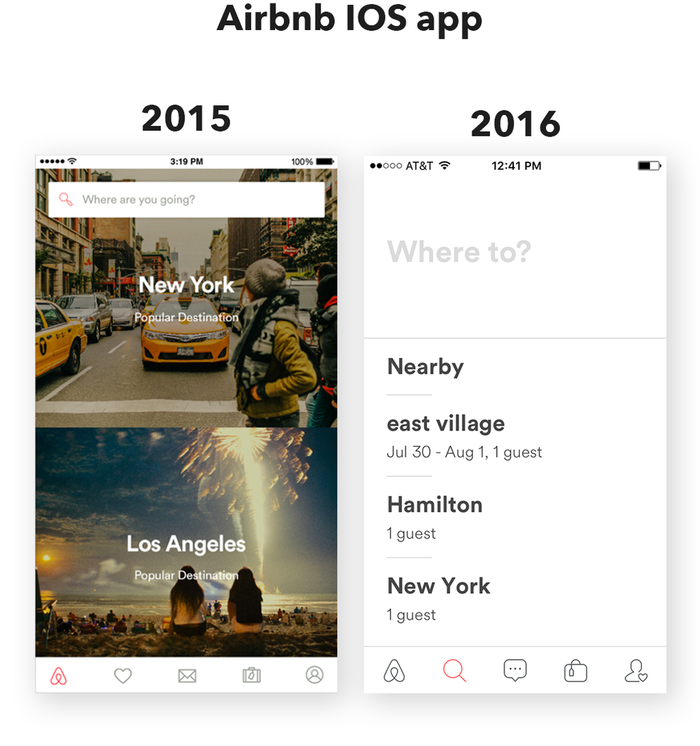Airbnb UI redesign 2015-2016