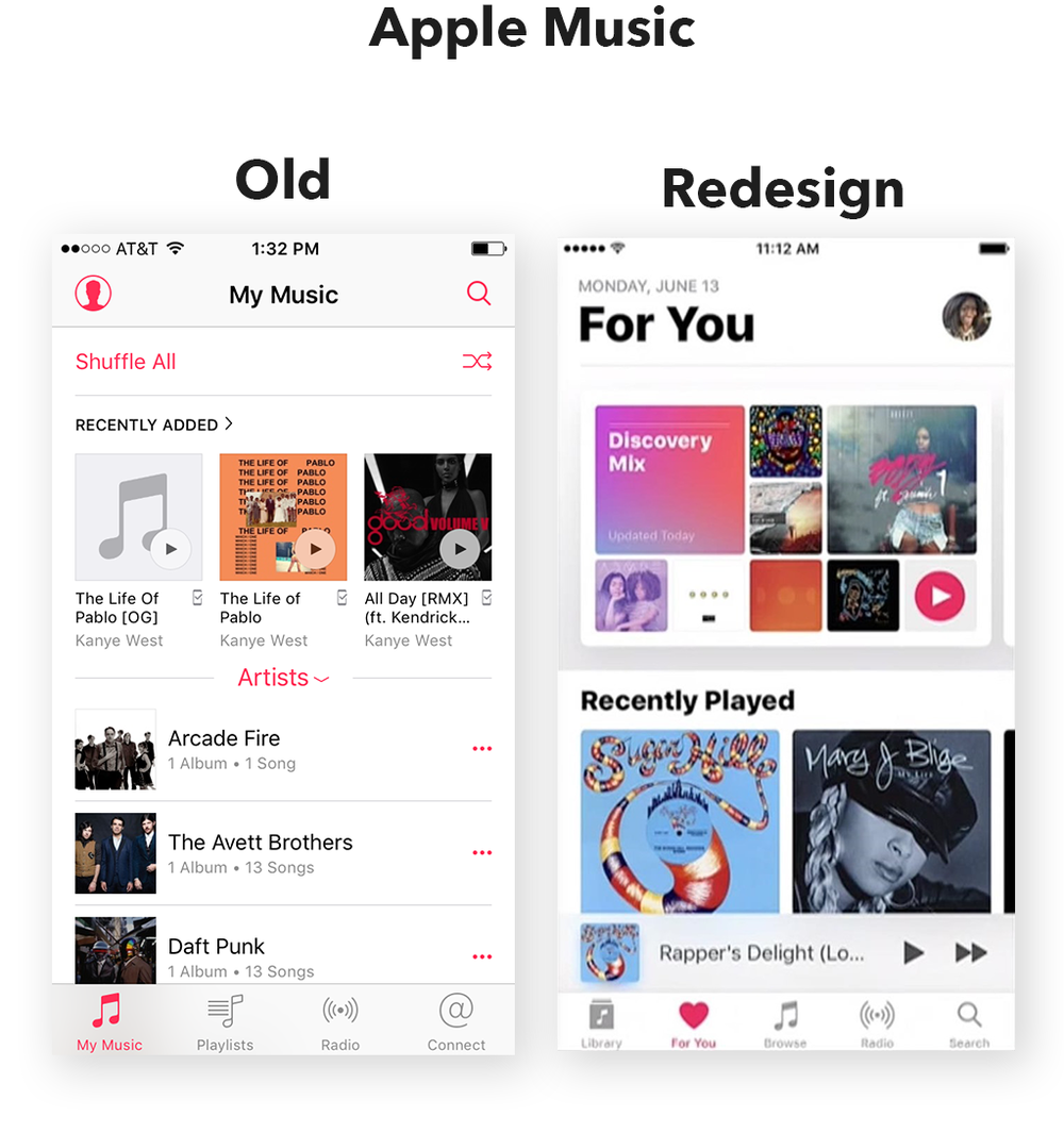 Apple Music UI redesign 2015-2016