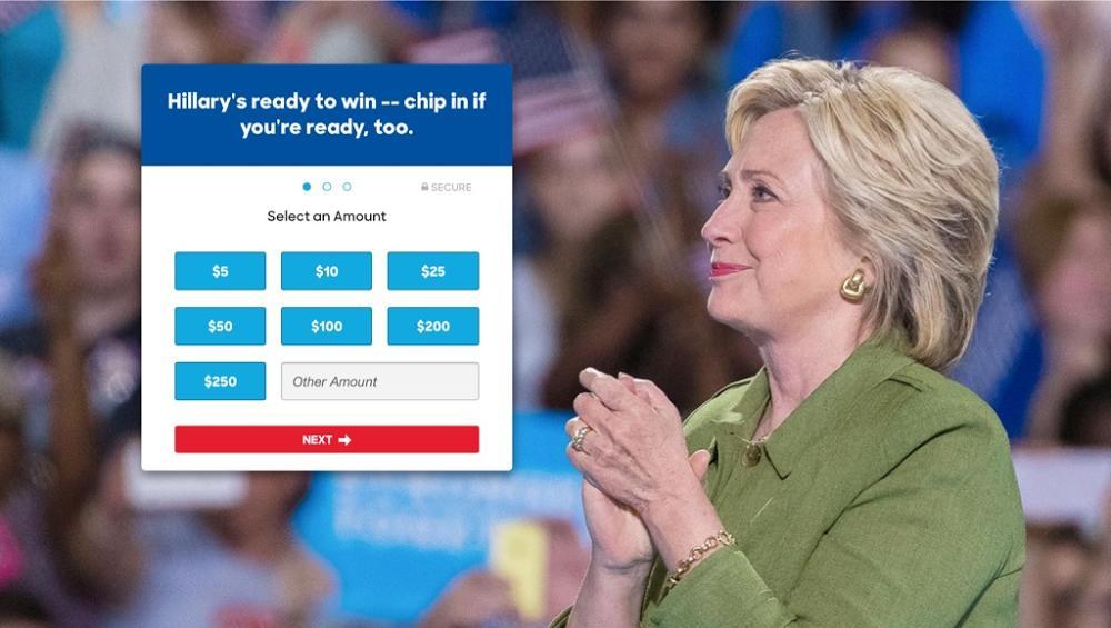 Hillary donate UX