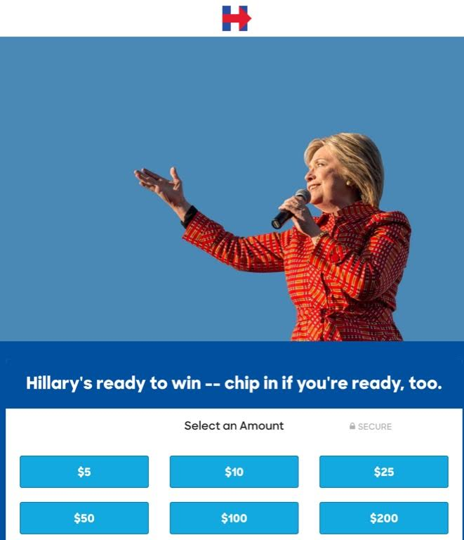 Hillary donate mobile UX