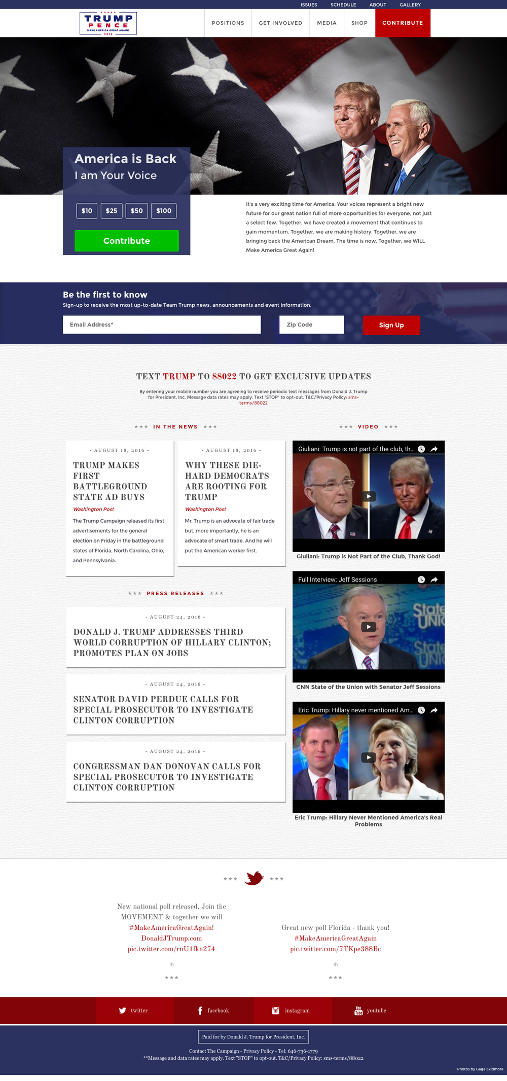 Donald Trump Website