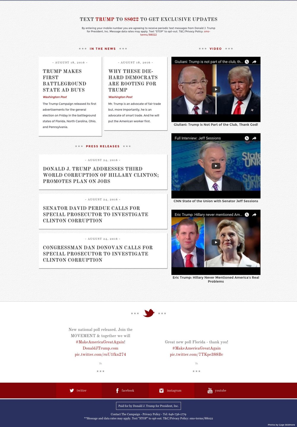 below the fold trump website