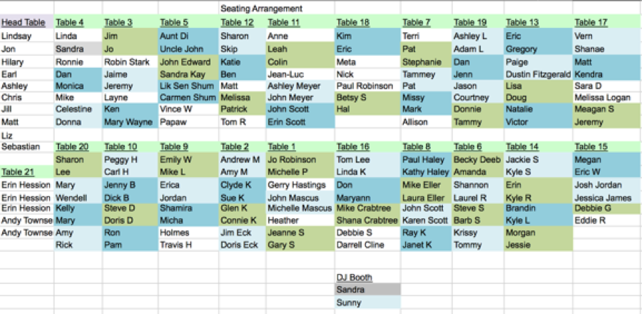 seating arrangement spreadsheet