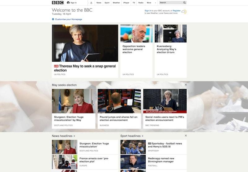 BBC-homepage