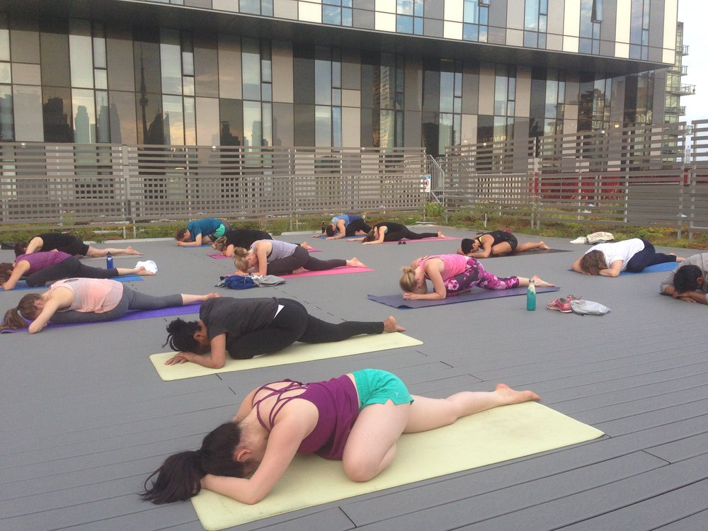 Settling down into pigeon pose during Lisa's yoga class on the newly-opened Green Roof, Cooper Koo YMCA, Toronto. Since 2017, she has taught as a staff yoga instructor at the Y.