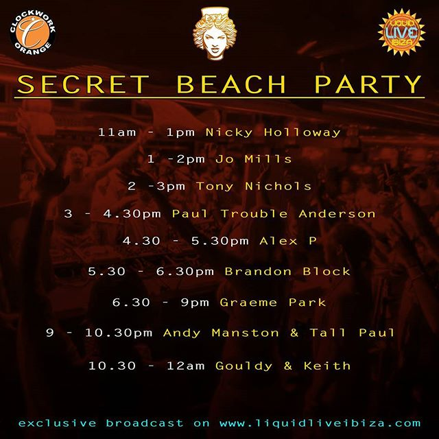 Today's DJ schedule for the secret party beach party that everyone knows about.  #housemusic #techhouse #classichouse #oldskool #electronicmusic #london #detroit #chicago #ibiza #frankfurt #newyork #berlin #toronto #vancouver #sydney #adelaide #amsterdam #melbourne #borabora #beachparty