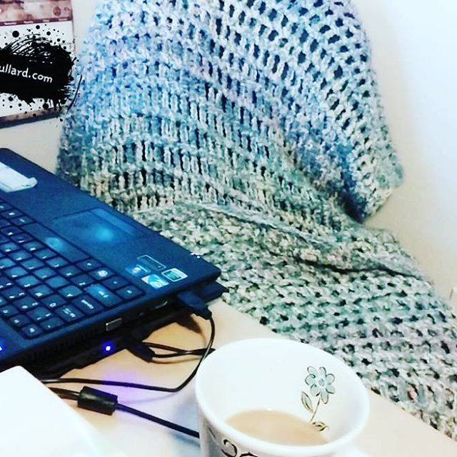 Coffee and comfy blankets are some of my home-office must-haves!