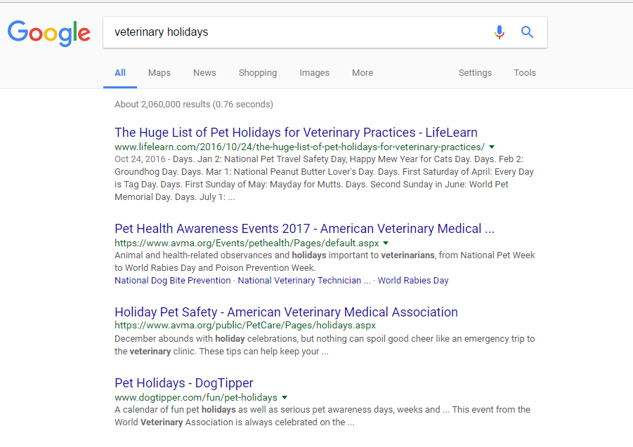 I worked in a veterinary hospital, have shown Borzoi for 16 years, and worked for a major pet retailer. There are TONS of pet holidays to celebrate!