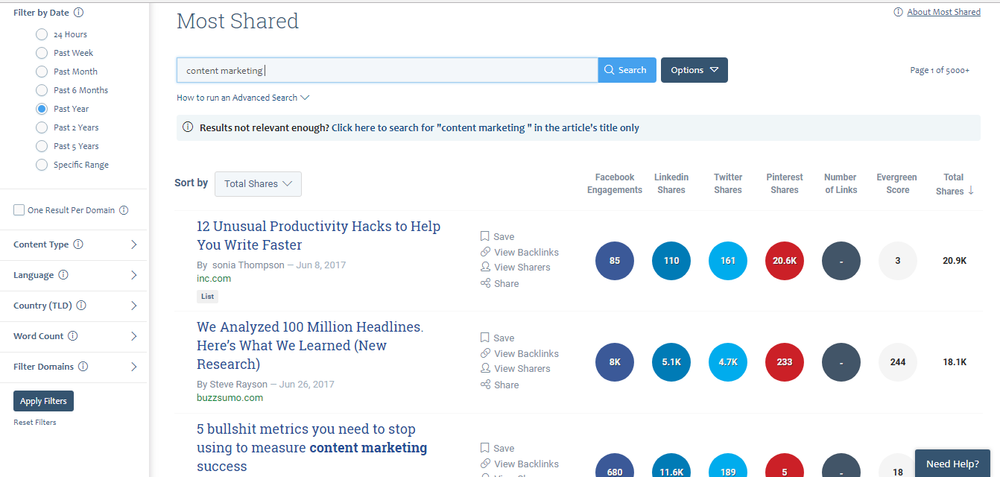 Buzzsumo  is one of the top keyword research tools available