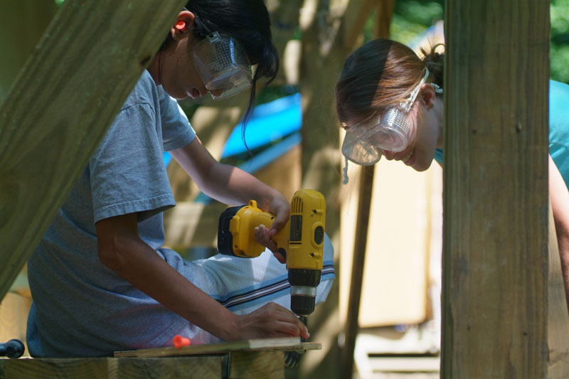 In addition to leadership and project management, Project time also serves to teach campers real-world skills, like how to use tools.