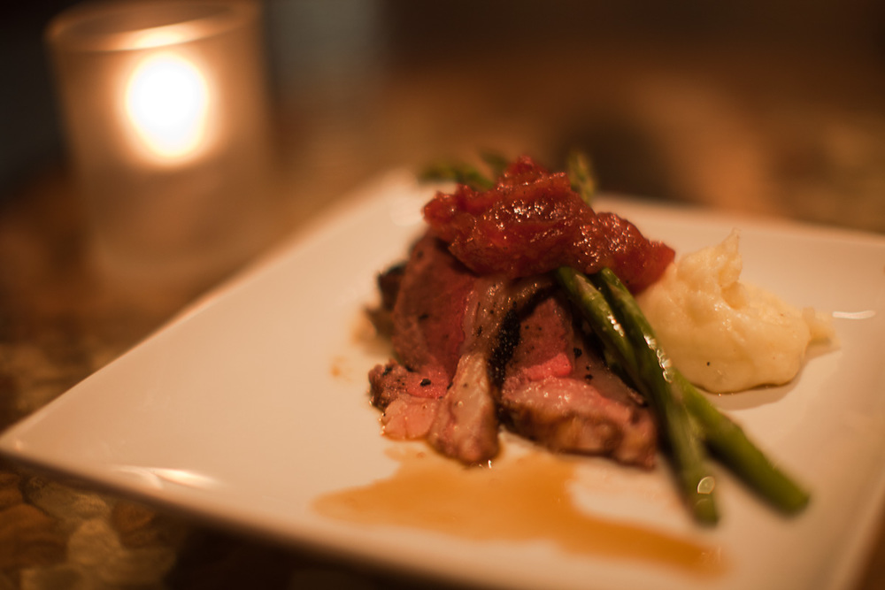 Lamb duo of coffee crusted loin and bourbon-coffee lacquered belly, CWB whipped potatoes, asparagus, red onion jam
