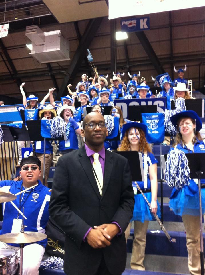 Marcus Farr with the IPFW Pep Band