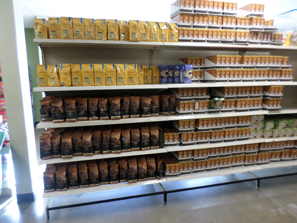 The coffee shelf at the Community Cupboard. You can see how strongly it resembles Wal-Mart or Meijer.