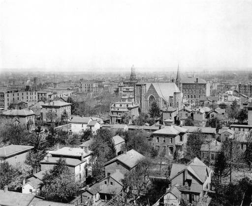 Aerial View of downtown Fort Wayne, IN (via Allen County Public Library)