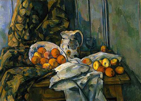 Cezanne,   Still Life with Apples   Isn't color dazzling? Our response to color can be so strong that sometimes new students overlook the other important elements in a piece of artwork. So for the purpose of gathering a richer understanding of why this painting works, we will study it as a black&white image.