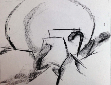 This drawing analyzes the edge of forms in a still life. My student is playing with edges to move the eye around the picture plane.   How does your eye move?