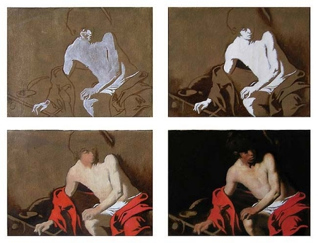Demonstration of Caravaggio's painting procedure. Notice how shapes are grouped in terms of value.