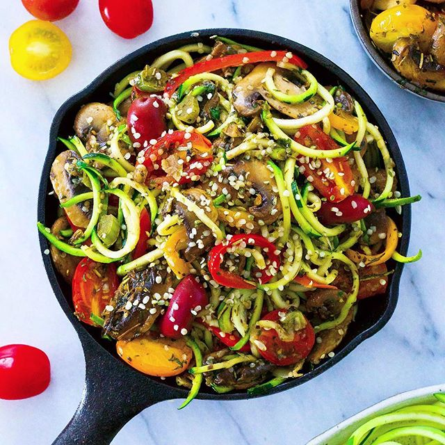 "Mushroom ragout tossed in zucchini spaghetti - need I say more? Inspired by my friend's @veganlov 's quote: ""Eat the spaghetti to forgetti your regretti"" 😆 . . . . #pastaporn #zucchini #mushrooms #plantbased #plantpower #vegan #feedfeed #thrivemags #veganlove #pasta #healthyfood #spaghetti #ahealthynut #bestofvegan #healthy #veganfoodshare #beautifulcuisines #whatveganseat #nutrition #yummy #vegansofig #veganfoodporn #food52 #plantpower #foodgasm #delicious #inspiralized"