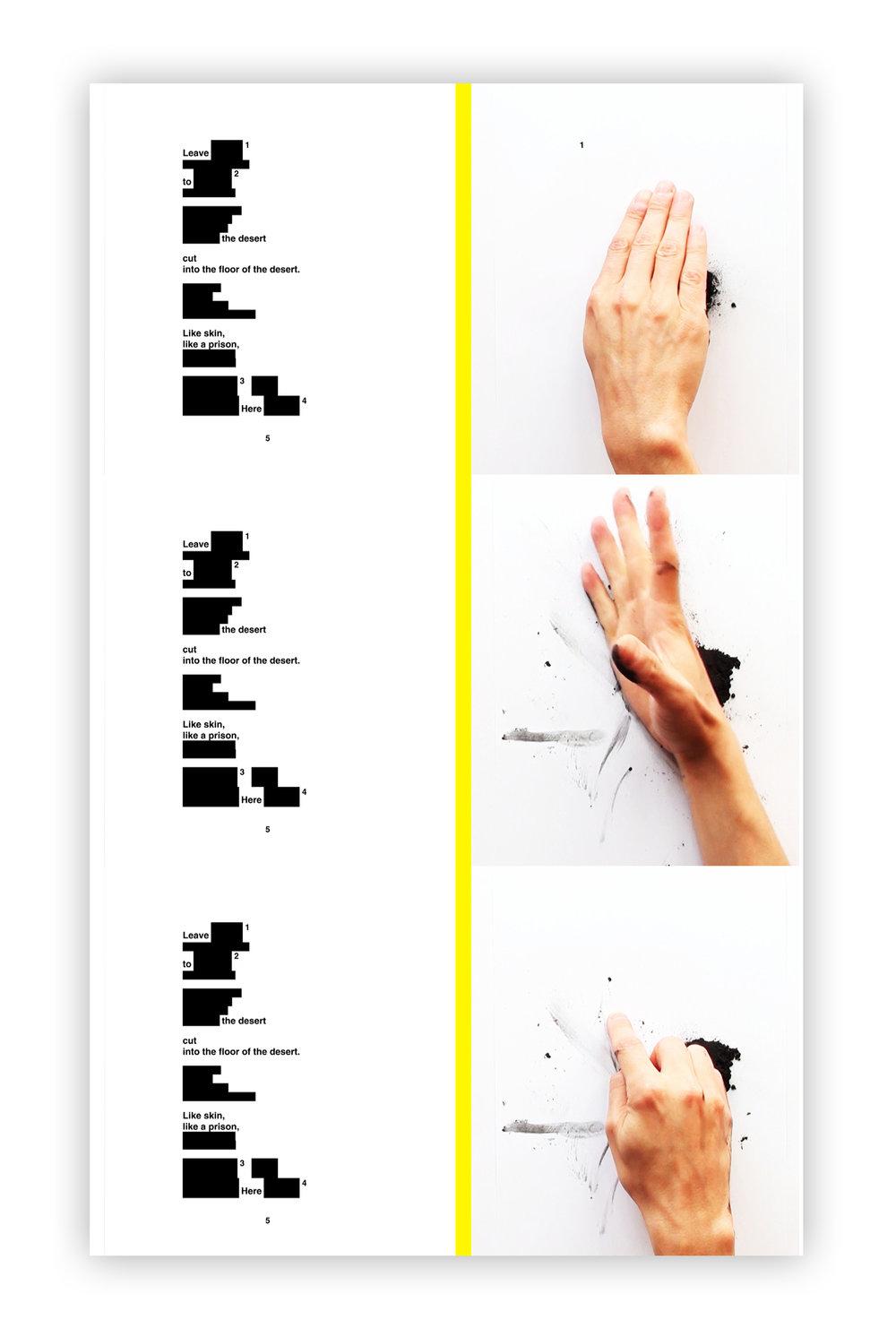 WHERE IS THE POEM - Alex MIRUTZIUperformance pentru o mana si poem preparat |9:49 min | 2013 | Galeria Sabot, Cluj - NapocaLucrarea se refera la conceptul de 'Birocratie a Obiectelor' care abordeaza dinamica si politica scrisului si cititului si la intelegerea dialectca a relatiei dintre cele doua, de la procesul de productie la cel de receptie.