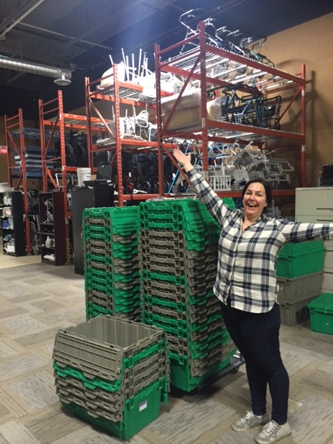 Leslie in warehouse.JPG