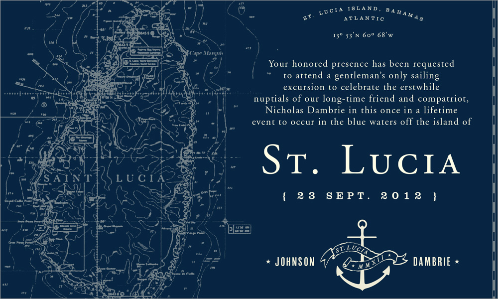 Murphy Empire Design St. Lucia Wedding Party Invite