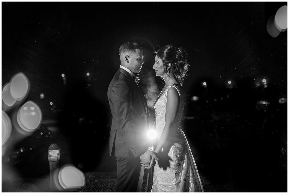 close up of bride and groom with light behind