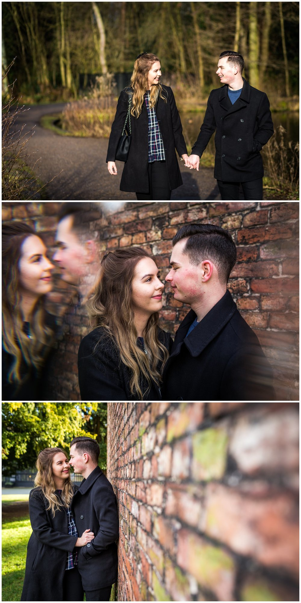 couple by wall in bramhall park, north west wedding photography