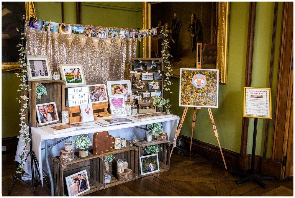 shot of wedding fair table