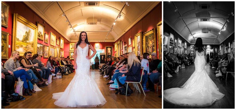 model wearing a wedding dress during catwalk