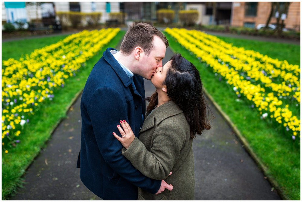 couple kissing in manchester, north west