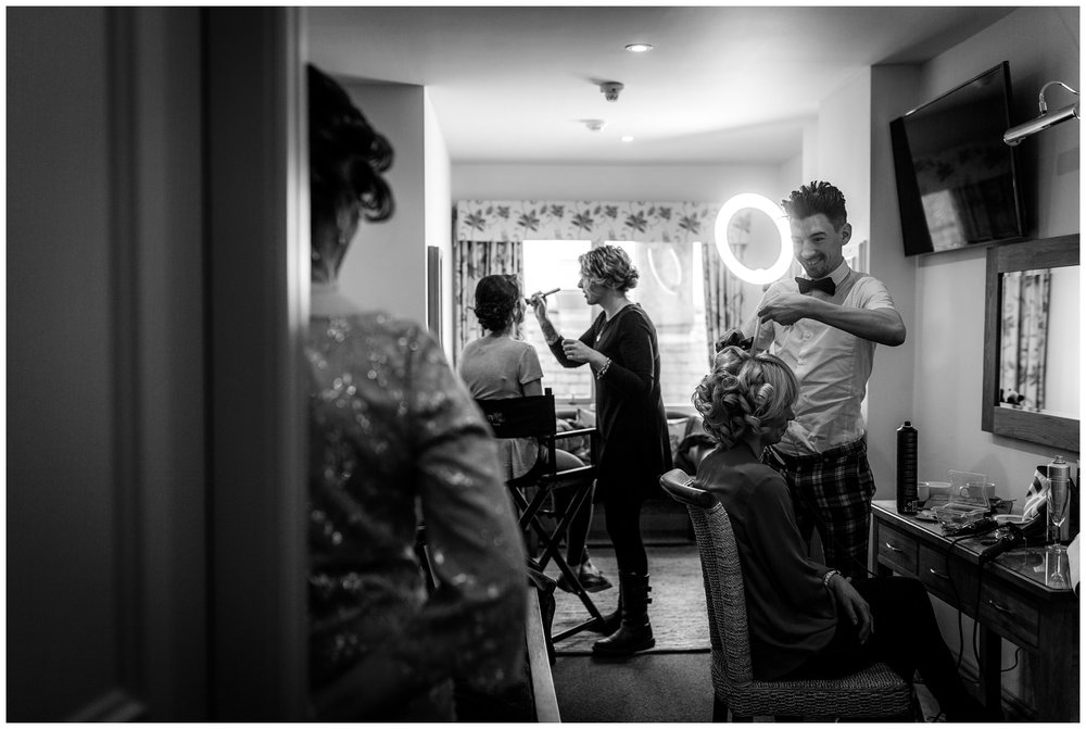 bride having her makeup done